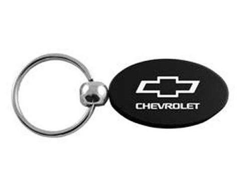 Chevy Oval Key Chain, Anodized Aluminum, With Bowtie Logo