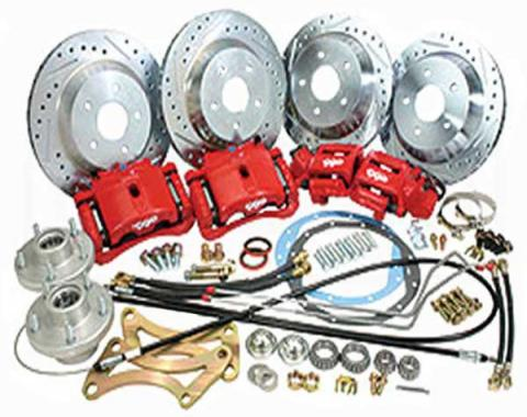 Camaro Complete Front And Rear Big Brake Kit, For Stock Spindles, Red Calipers, 1968-1969