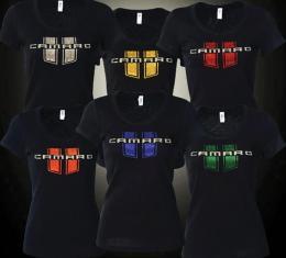 Camaro T-Shirt, Ladies, Jeweled Camaro With Stripes, Green