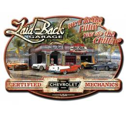 "Laid Back Dream Chevy Garage Tin Sign 15 1/2"""" X 21 3/4"""