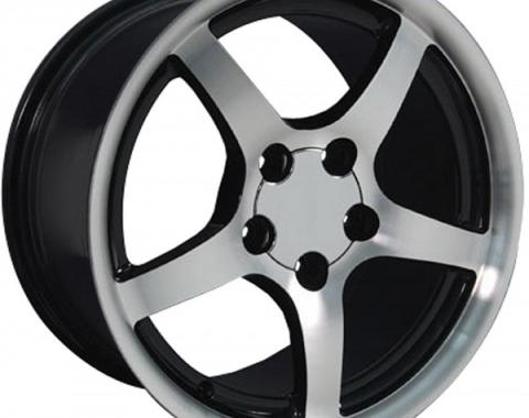Firebird 18 X 9.5 C5 Style Deep Dish Reproduction Wheel, Black With Machined Face, 1993-2002