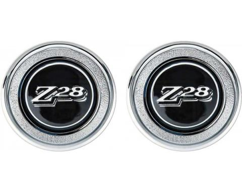 Camaro Interior Door Panel Emblems, Black, Z28, 1977-1979