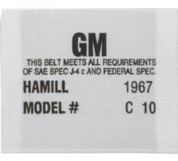 Camaro Seat Belt Label, Hamill C-10, 1967
