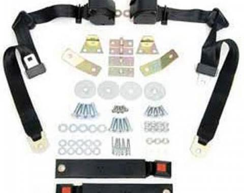 Camaro Shoulder Harness/Seat Belt Kit, 3-Point Retractable,With Black Buckle, 1967-1973
