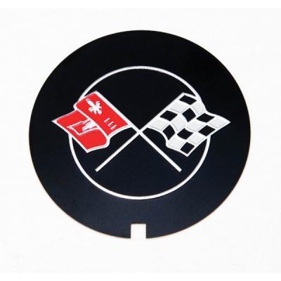 Camaro Valve Cover Crossed Flag Emblem, Z28, Finned Aluminum, Reproduction, 1969-1974