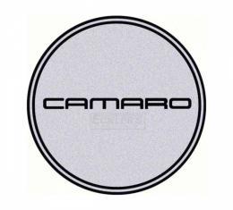 Camaro Wheel Center Cap Emblem, Black Logo, Silver Background, 1967-2002