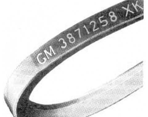 Firebird Alternator Belt, V8, With Power Steering And Without Air Conditioning, Manual Transmission, Date Code 1-Q-68, 1968