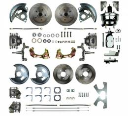 """Camaro 4-Wheel Power Disc Brake Conversion Kit With 8"""" Chrome Booster, 2"""" Drop, Staggered Rear Shocks, 1967-1969"""
