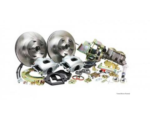 Front Disc Brake Conversion Kit For Stock Spindles, Drilled And Slotted Rotors, Power, 1967-1969