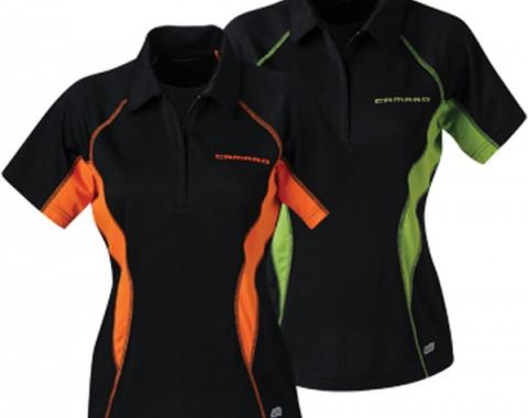 Chevy Polo Shirt, Women's, Zippered, Northend Performance, Black And Acid Green