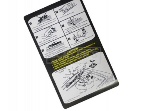 Firebird Jack Instruction Decal, Regular Spare, 1979-1980