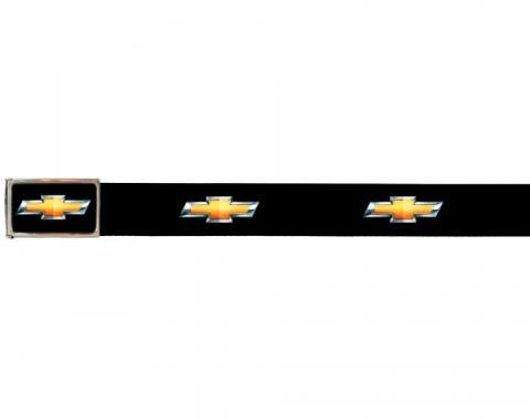Web Belts, Up to 28'' Waist, Chevy Gold Bowtie Logo, Logo On Belt