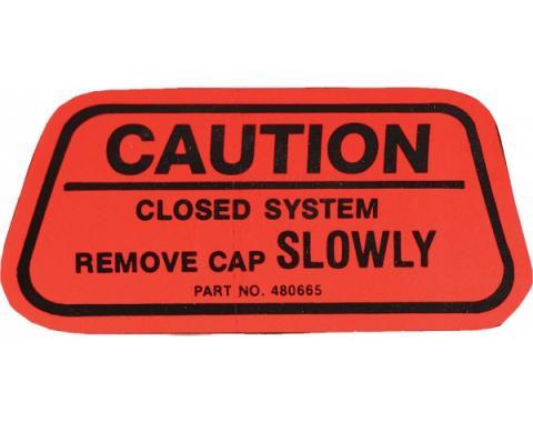 Camaro Gas Cap Caution Decal, California, 1970