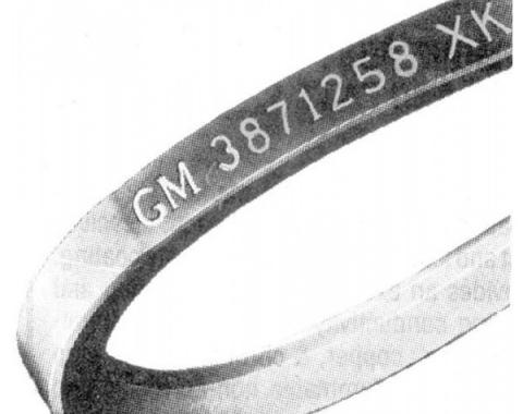 Firebird Power Steering Belt, V8, With Air Conditioning, With A.I.R, Date Code 1-Q-67, 1967