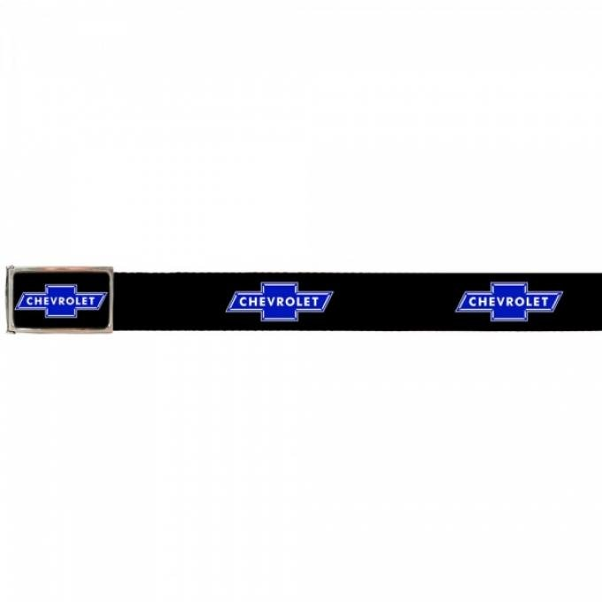 Web Belts, Up to 46'' Waist, Chevy Blue Bowtie Logo, Logo On Belt, Without Bottle Opener