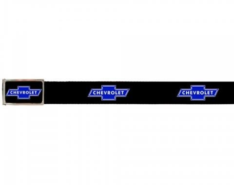 Web Belts, Up to 46'' Waist, Chevy Blue Bowtie Logo, Logo On Belt, Without Bottle Opener