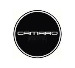 Camaro Wheel Center Cap Emblem, Chrome Logo, Black Background, 1967-2002
