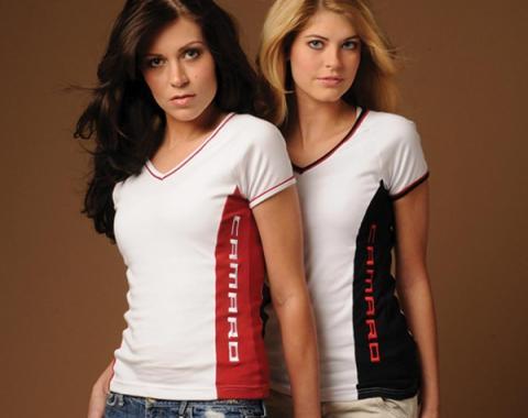 Camaro T-Shirt, Ladies, V-Neck Tee, White/Red