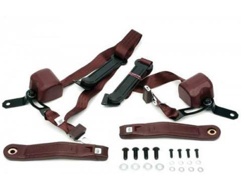Seatbelt Solutions 1967-1973 Camaro 3-Point Front Retractable Seat Belt Set, Chrome Lift Latch