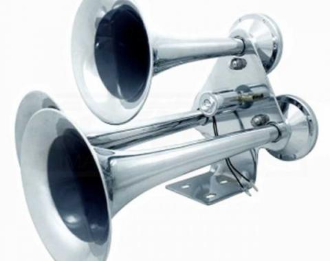 3 Trumpet Chrome Train Horn, Standard Duty