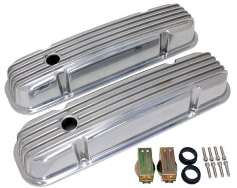 Firebird Valve Covers, Polished Aluminum, Finned, With Holes, For 301-455 Engines, 1967-1979
