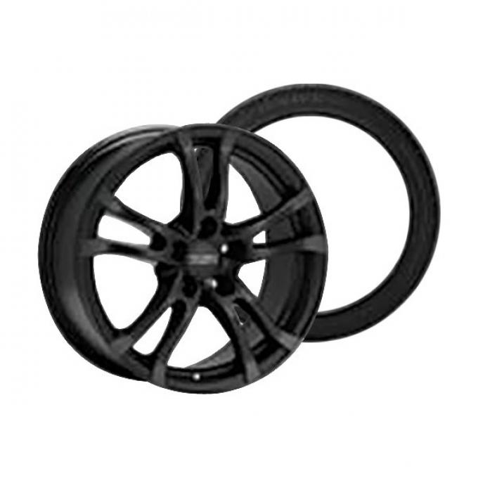 Camaro Anzio Turn Black Wheel Rim and Firehawk Wide Oval AS W-Speed Rated Wheel Rim Kit, 2010-2015