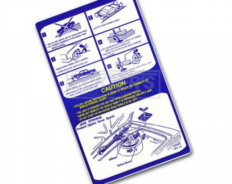 Firebird Jack Instruction Decal With Space Saver 1975