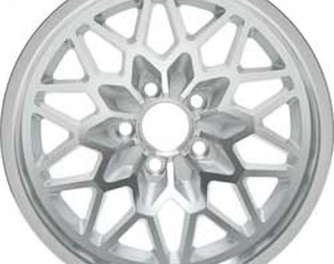 "Firebird Wheel, Snowflake, Silver, 15"" x 8"", 1978-1981"