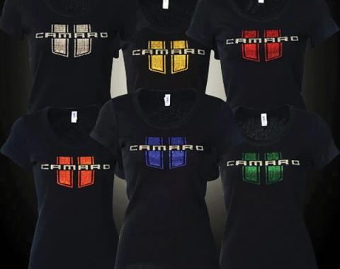 Camaro T-Shirt, Ladies, Jeweled Camaro With Stripes, Blue