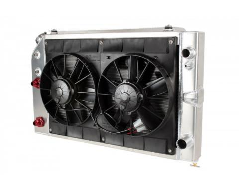 "Camaro Radiator Module 2 Pass LS Engine With Spal Dual 11"" Fans And Engine Oil Cooler 1970-1981"
