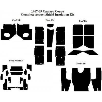 Camaro Insulation, QuietRide, AcoustiShield, Complete Kit, Coupe, 1967-1969