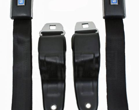 Camaro Seat Lap Belt Set, Standard, Front, Black, 1967-1969