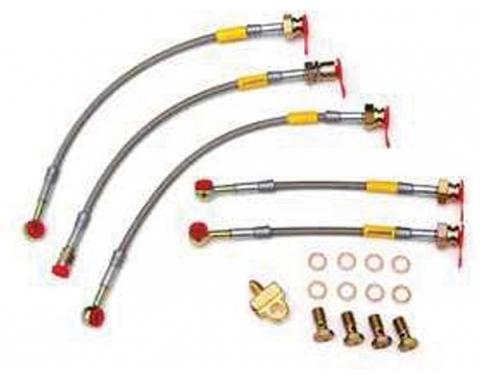 Firebird Braided Disc Brake Hose Kit, Stainless Steel, With Rear Disc Brakes, Goodridge, 1985-1988