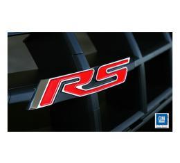 Camaro Grille Emblem, RS, Polished, Red, For Heritage Grille, 2010-2013