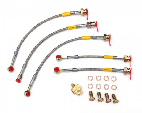Camaro Braided Disc Brake Hose Kit, Stainless Steel, With Rear Drum Brakes, Goodridge, 1984-1992