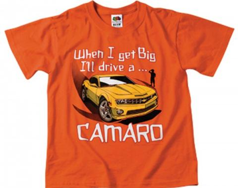 "Camaro Children's T-Shirt, ""When I Get Big I'll Drive A Camaro"", Orange"