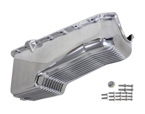 Chevy V8 Small Block Aluminum Stock Capacity Oil Pan, Passenger Dipstick, Retro Finned
