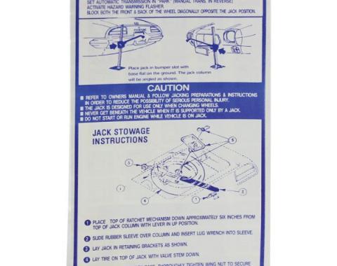 Firebird Jack Installation Instruction Decal, Regular Spare, 1971-1974