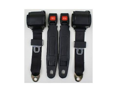 Firebird 3-Point Seat Belt With Plastic Push Button, For Bucket Seats, 1967-1975