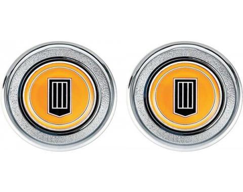 Camaro Interior Door Panel Emblems, Orange Badge, 1979-1981