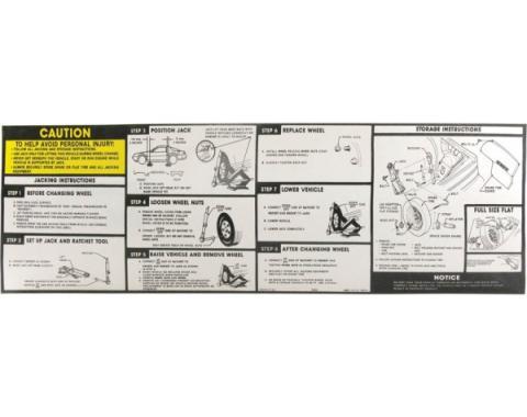 Firebird Jack Instructions Decal, Late 1991-1992