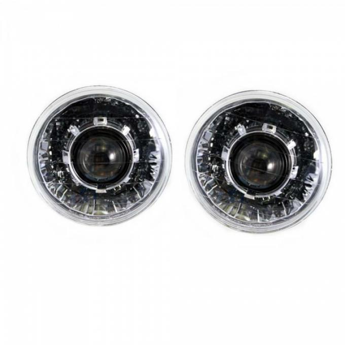 Nova - 7 Inch Round Projector Headlights With 64mm Projector, Chrome, 1962-1979