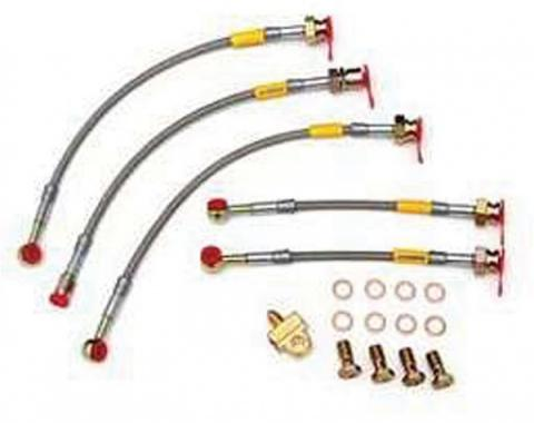 Firebird Braided Disc Brake Hose Kit, Stainless Steel, With Rear Disc Brakes, Without Traction Control, Goodridge, 1993-1997
