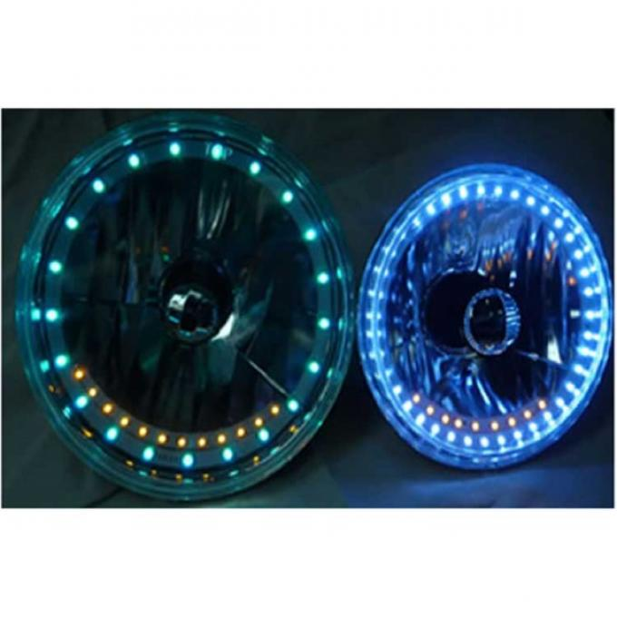 Camaro Headlight, 7 Inch Round White Diamond With Single Color White LED Halo And Turn Signals, 1967-1981