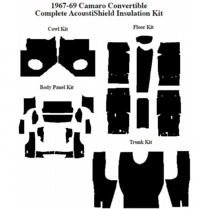 Camaro Insulation, QuietRide, AcoustiShield, Complete Kit, Convertible, 1967-1969