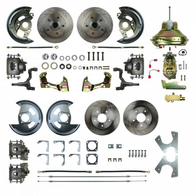 """Camaro 4-Wheel Power Disc Brake Conversion Kit With 11"""" Factory Style Booster, Non-Staggered Rear Shocks, 1967-1969"""