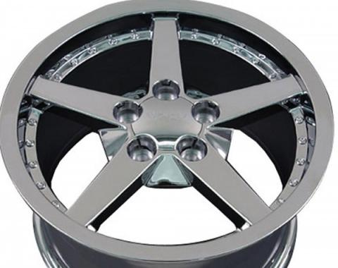 Firebird 18 X 8.5 C6 Style Deep Dish With Rivets Reproduction Wheel, Chrome, 1993-2002
