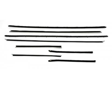 Camaro Coupe Window Felt Kit With Flat Inner & Round Outer Stainless Steel Beads For Cars With Deluxe Interior & Rally Sport(RS) Or With Optional Exterior Trim, 1968