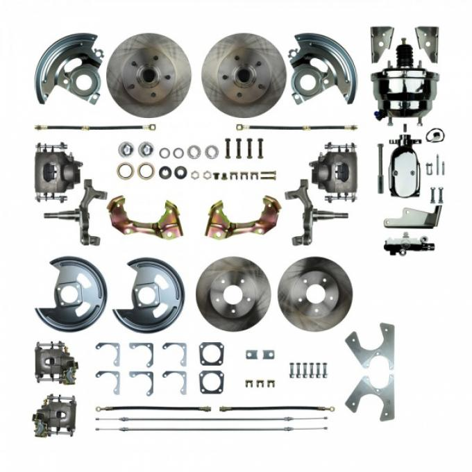 "Camaro 4-Wheel Power Disc Brake Conversion Kit With 8"" Chrome Booster, 2"" Drop, Staggered Rear Shocks, 1967-1969"