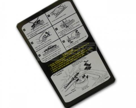 Firebird Jack Instruction Decal With Space Saver 1976-1978